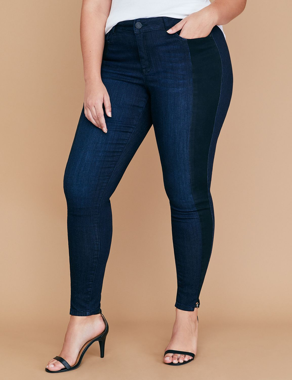 Petite Super Stretch Skinny Jean - Two-Tone Tuxedo Stripe