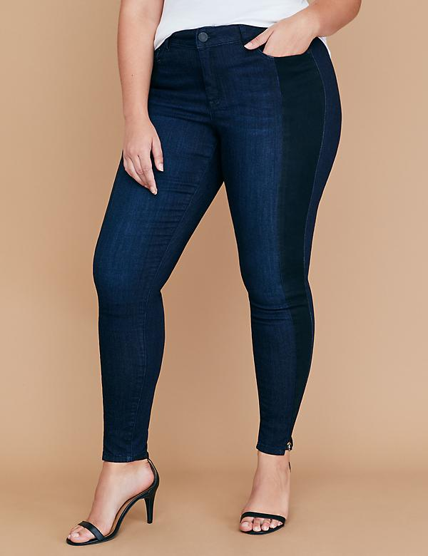 Super Stretch Skinny Jean - Two-Tone Tuxedo Stripe