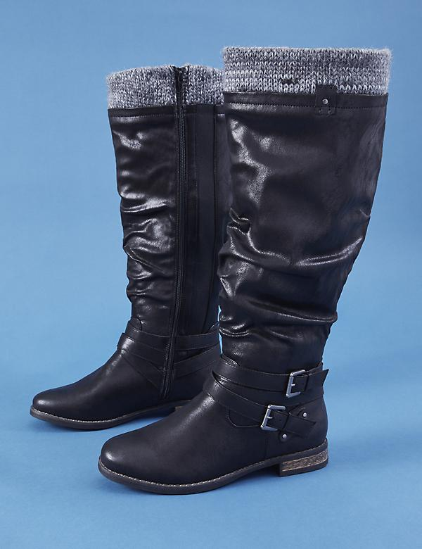 Riding Boot with Buckles & Sweater Cuff