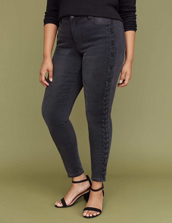 Petite Super Stretch Skinny Jean - Black Lace-Up