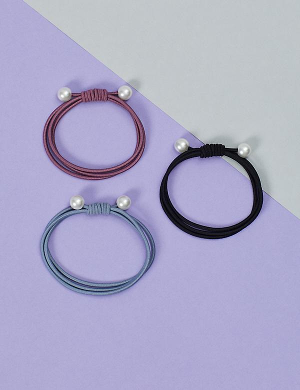 Faux Pearl Hair Ties - 3 Pack