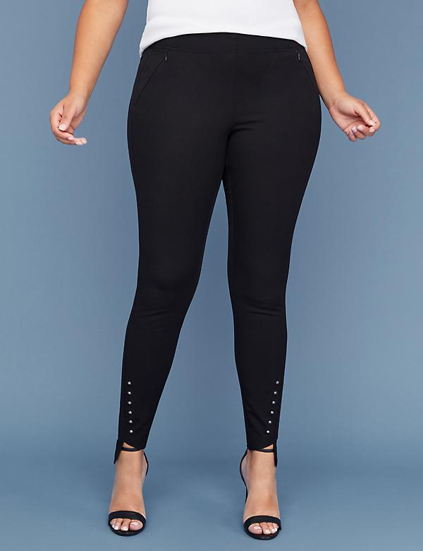 Fast Lane Allie Smart Stretch Skinny Pant - Pull-On Studded