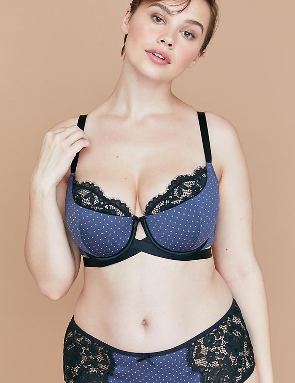 Lightly Lined French Balconette Bra - Foil Dots & Lace