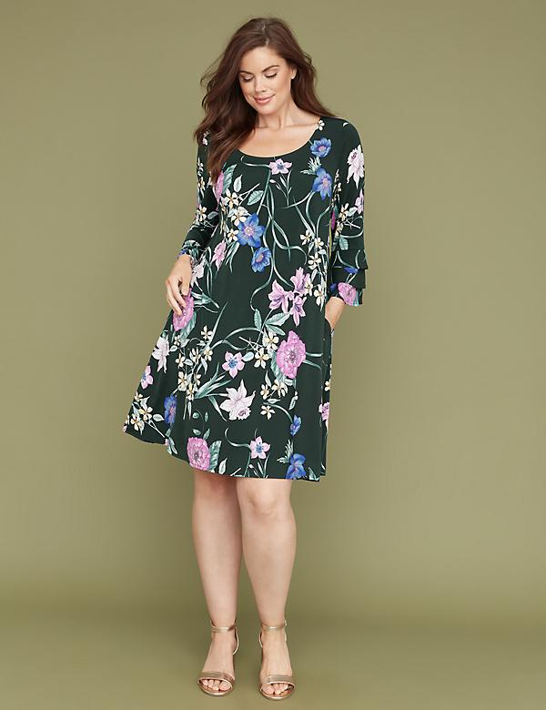 3/4 Ruffle Sleeve Printed Swing Dress