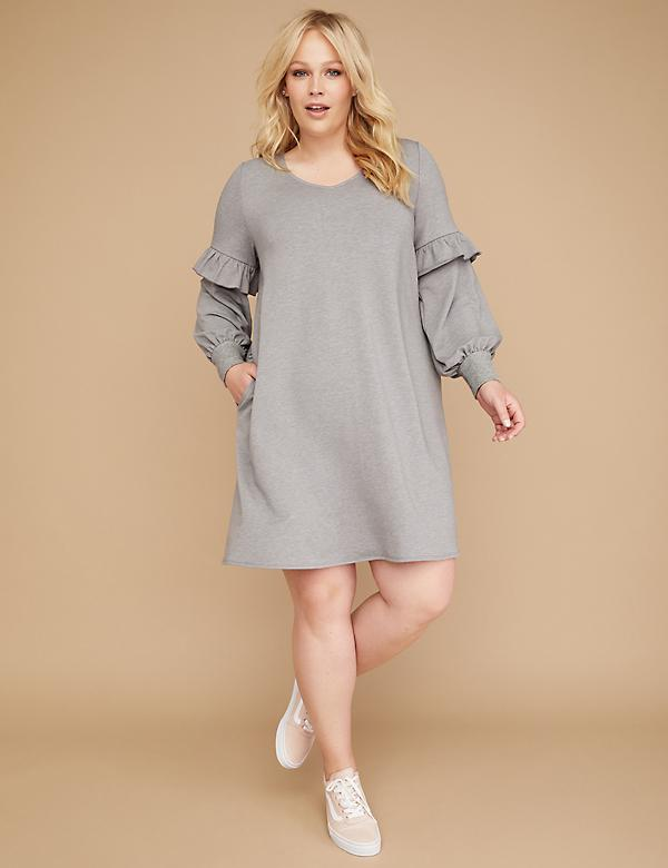 Blouson-Sleeve Swing Dress
