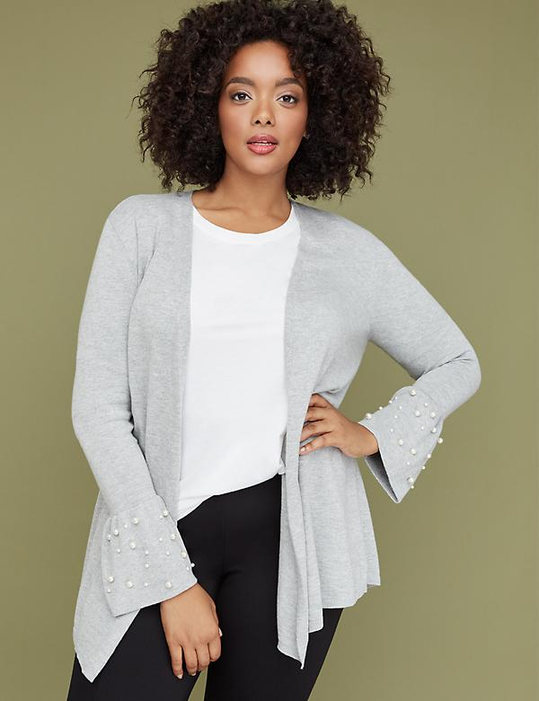 Faux Pearl Bell-Cuff Overpiece Sweater