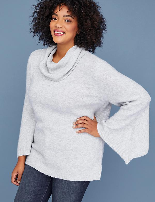 Bell-Sleeve Cowl-Neck Sweater