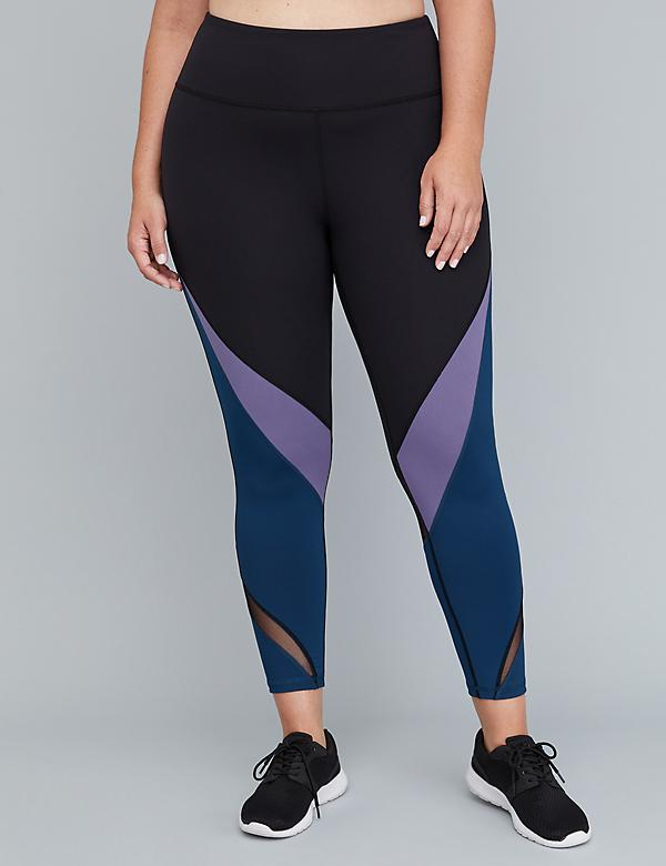 Wicking Active 7/8 Legging - Colorblock & Mesh Insets