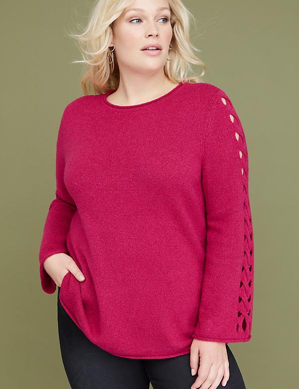 Lattice-Sleeve Pullover Sweater