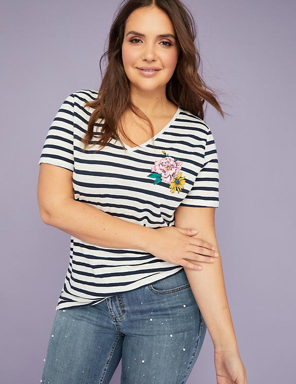 Floral Graphic Striped V-Neck Tee