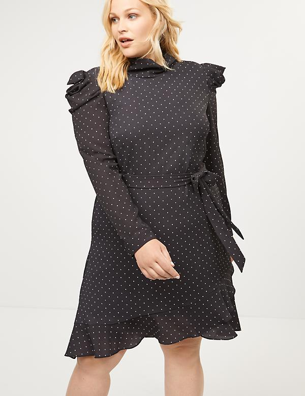 Mock-Neck Puff-Sleeve Fit & Flare Dress