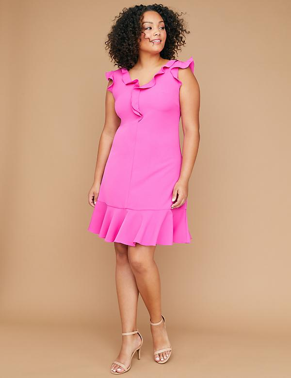Short-Sleeve Ruffle A-Line Dress