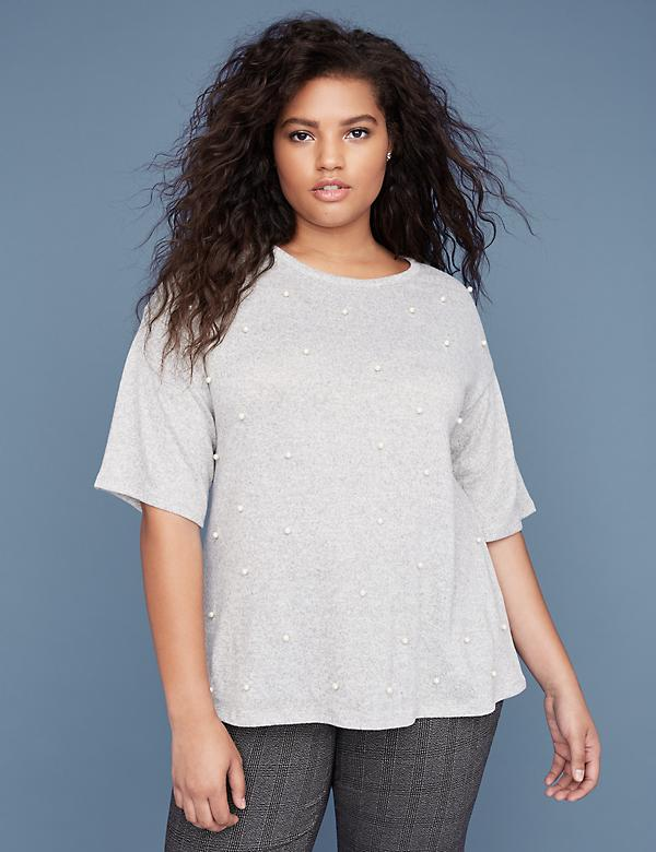 Faux-Pearl Embellished Tee