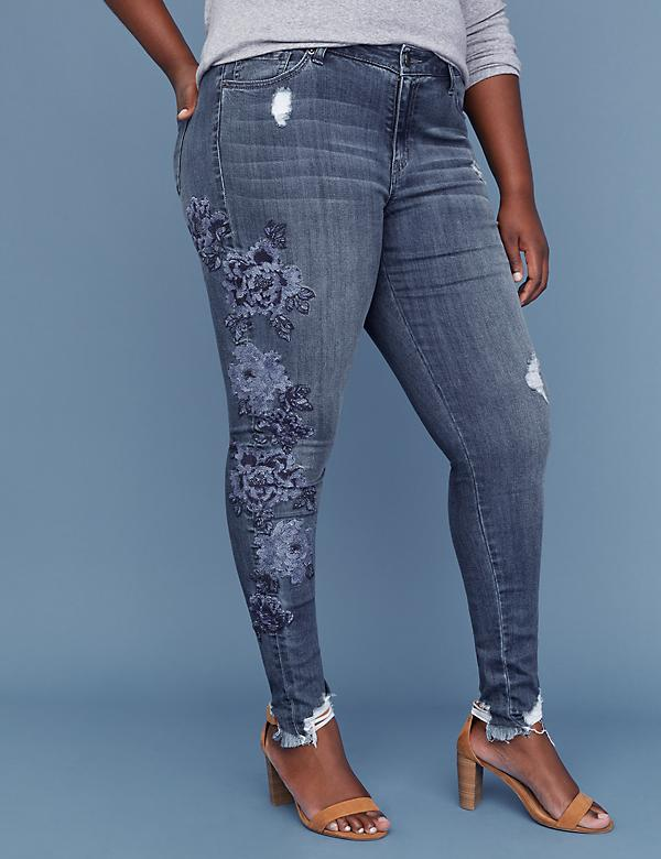 Super Stretch Skinny Jean - Blue Floral Embroidery