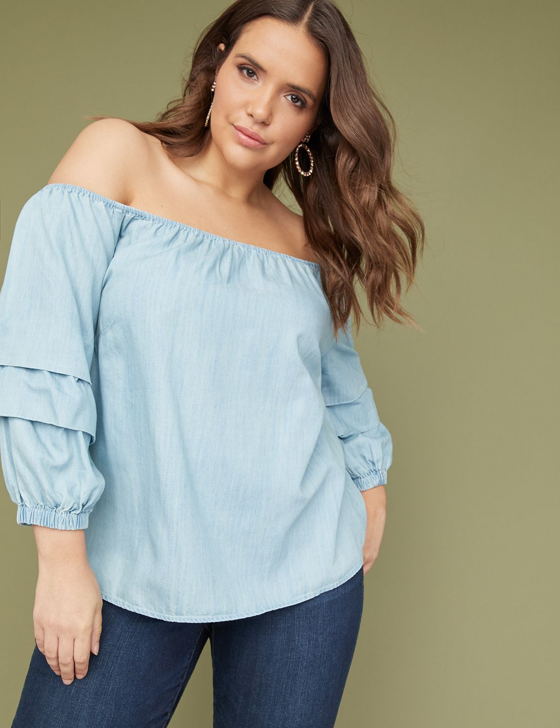 Petite Denim Ruched-Sleeve Off-the-Shoulder Top