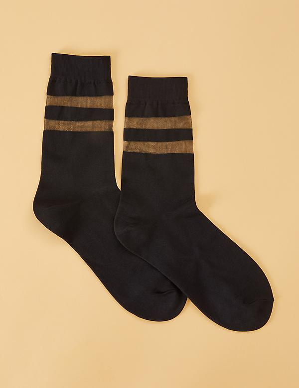 Short Athletic Crew Socks - Sheer Stripe