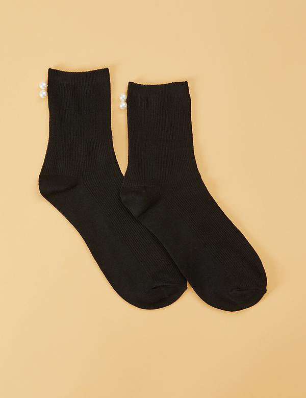 Short Crew Socks - Faux Pearl Detail