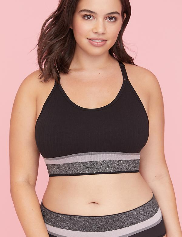 Scoop-Neck Bralette - Ribbed Colorblock