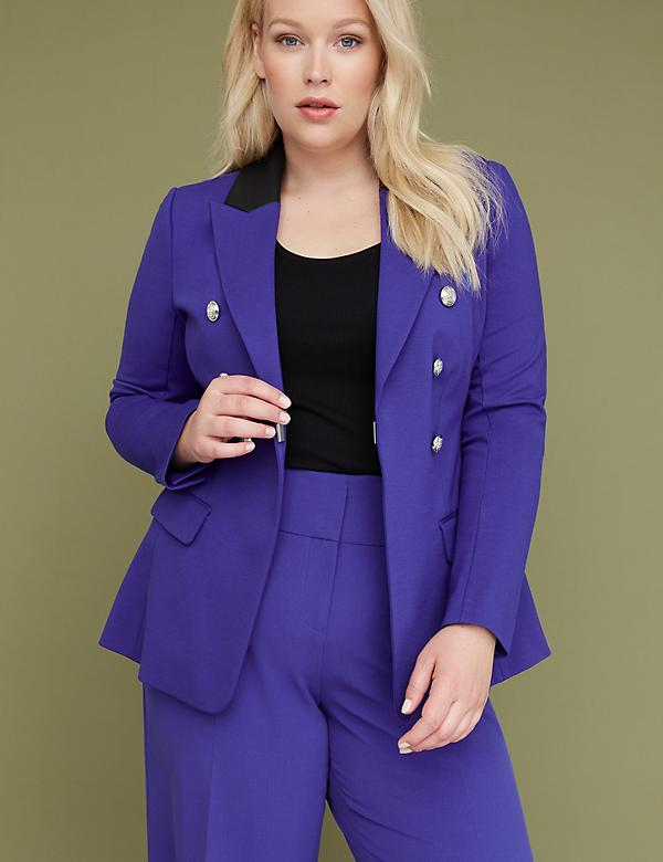 Bryant Blazer - Double Breasted Ponte with Faux Leather Collar