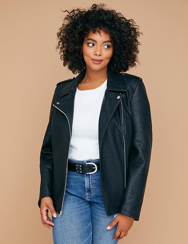 Leopard-Lined Faux Leather Moto Jacket