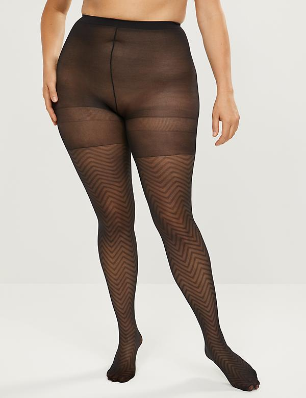Sheer Chevron Smoothing Tights
