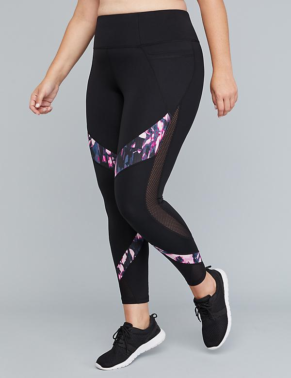 Sculpting Active 7/8 Legging - Print & Curved Mesh Splicing