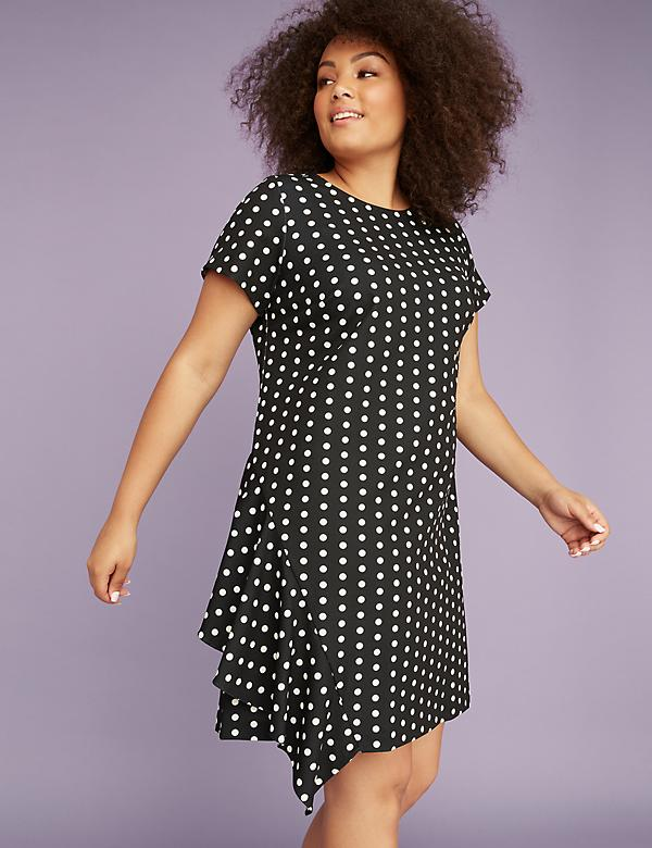 Short-Sleeve Polka Dot A-Line Dress