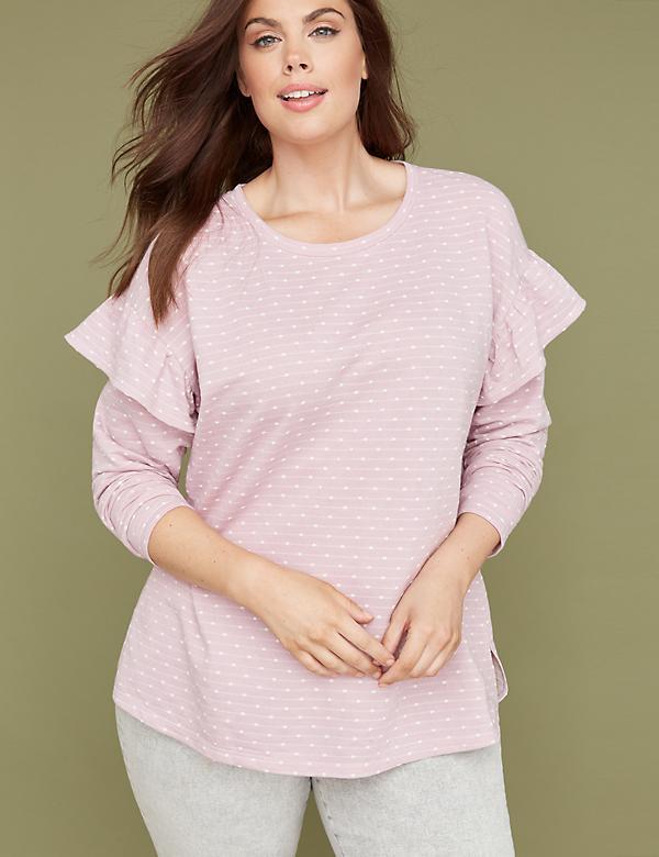 9621815bd0dffd Polka Dot Jacquard Ruffle Sweatshirt. Final sale