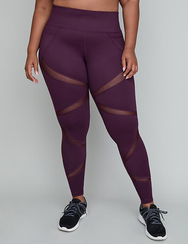 Wicking Active 7/8 Legging - Angled Mesh Insets