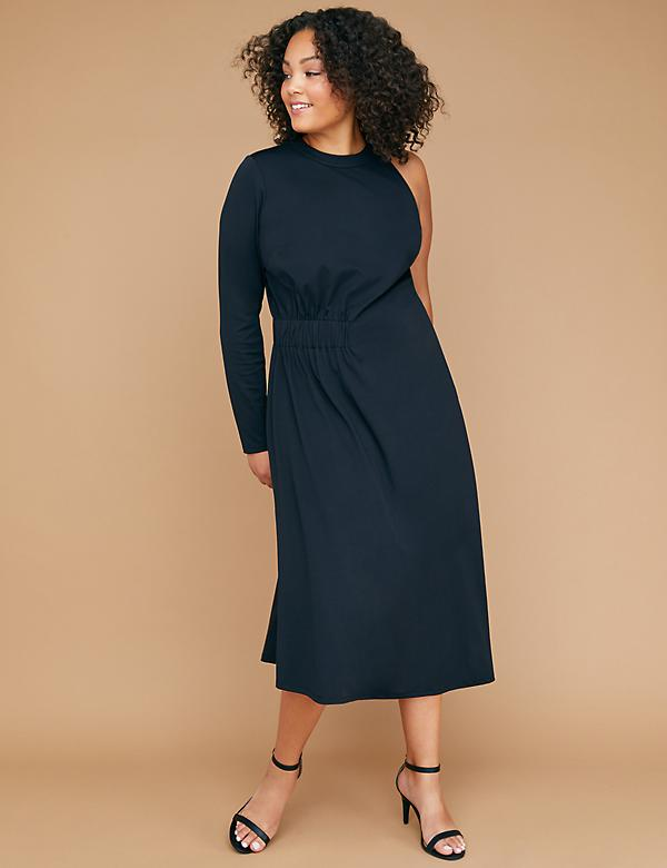 One-Sleeve Asymmetrical Hem Maxi Dress