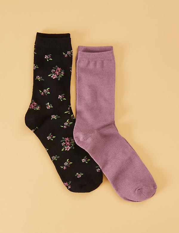 Crew Socks 2-Pack - Floral Bouquet & Solid