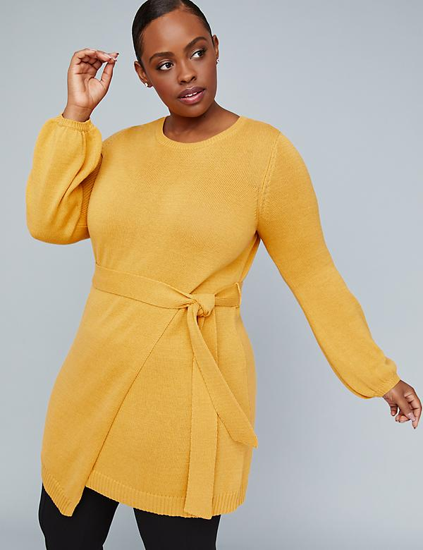 Girl With Curves Belted Wrap-Hem Sweater