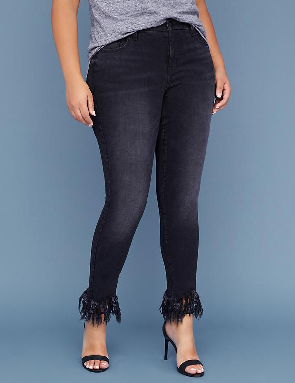 Fast Lane Super Stretch Skinny Ankle Jean - Shredded Hem