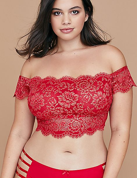 Metallic Lace Off--the-Shoulder No-Wire Bralette