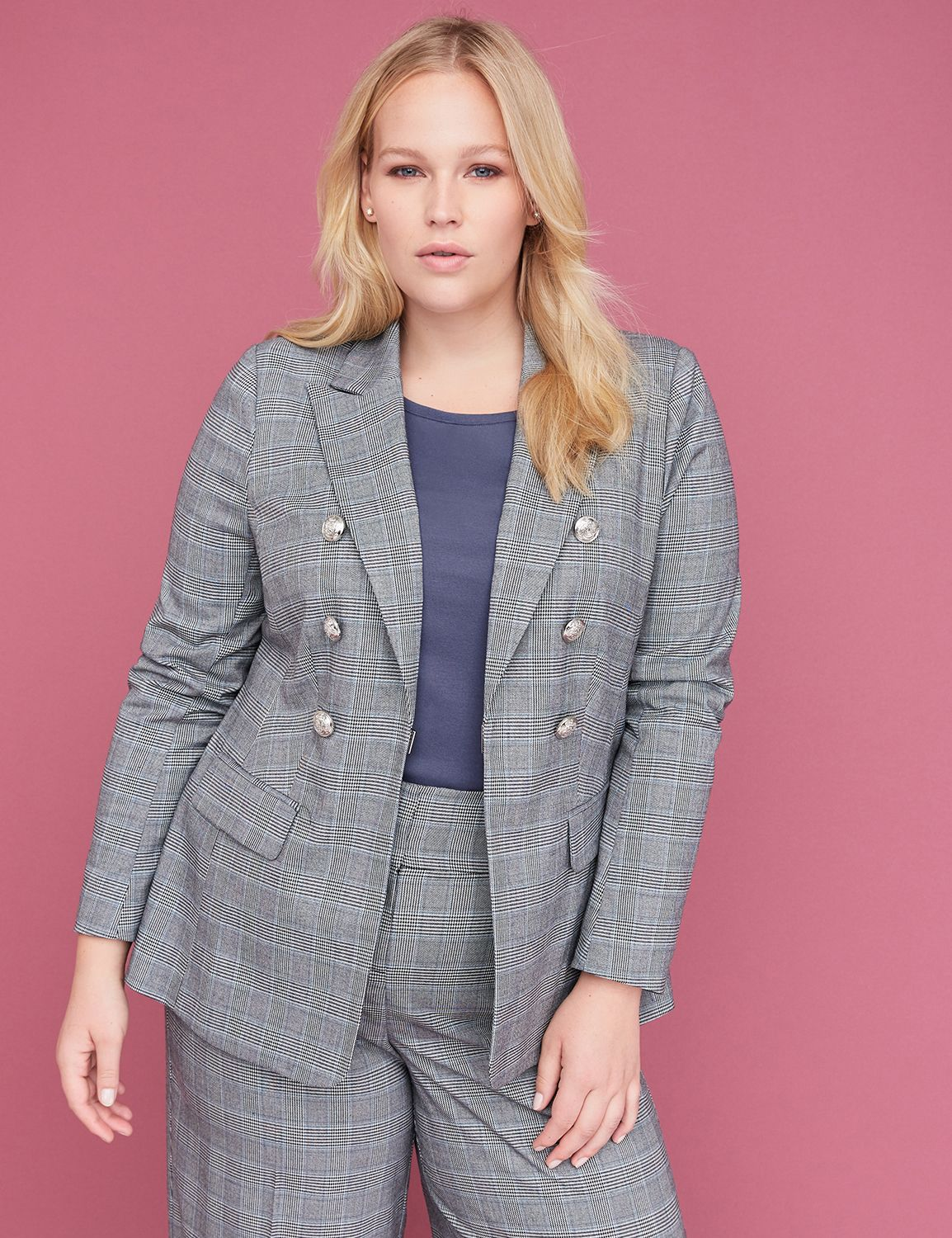 Petite Bryant Blazer - Double Breasted Plaid Tailored Stretch