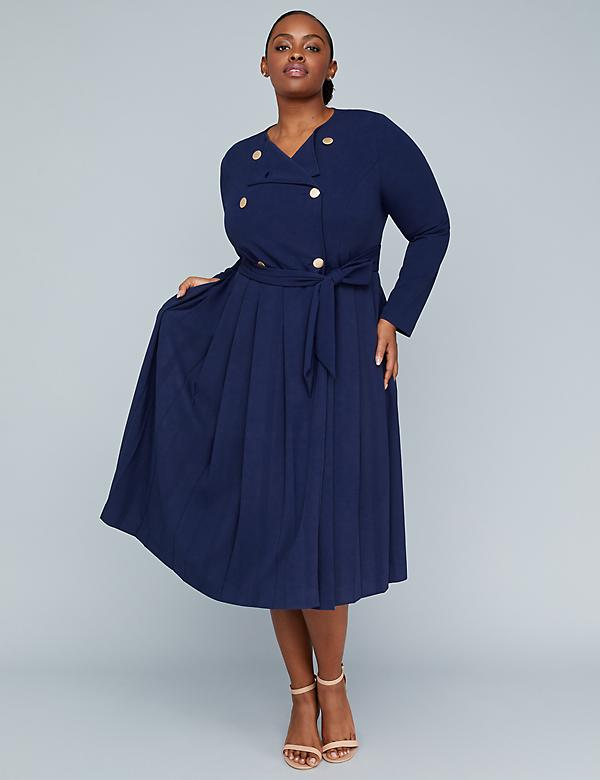 Girl With Curves Pleated Trench Dress