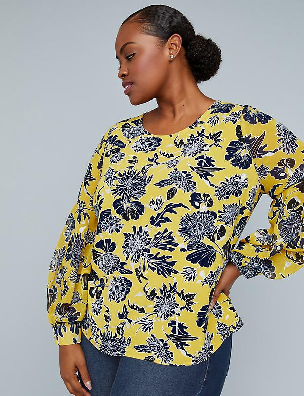 Girl With Curves Printed Blouson-Sleeve Blouse