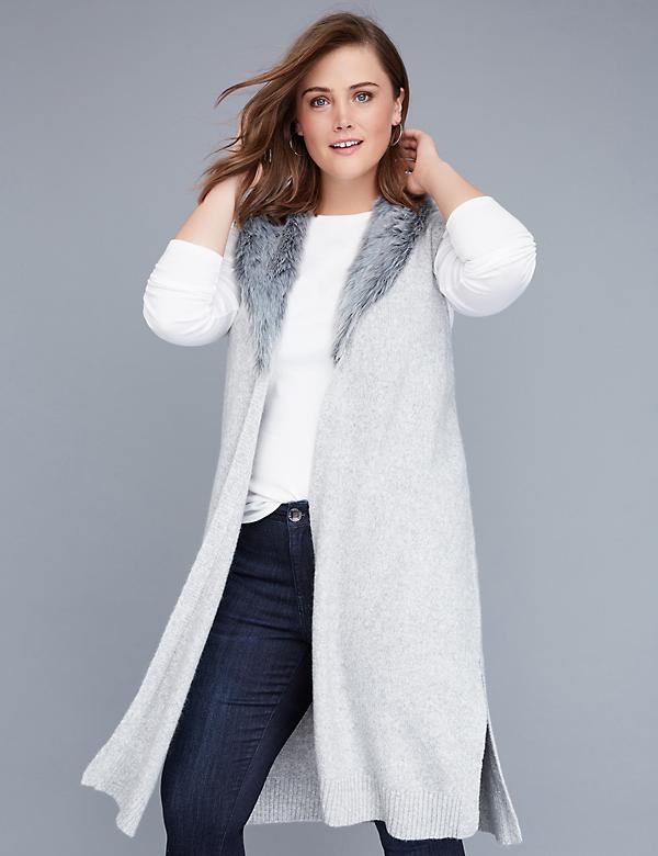 Fast Lane Faux Fur-Collar Duster Vest