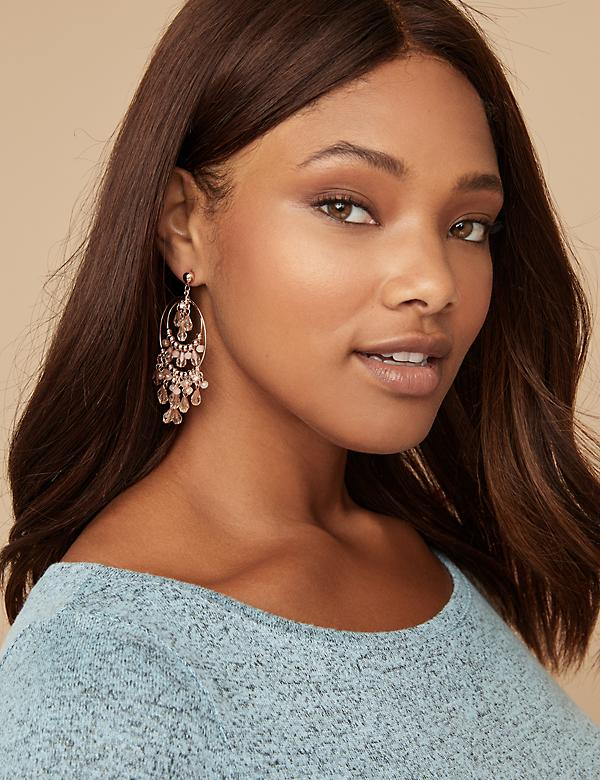 Beaded Double Circle Chandelier Earrings