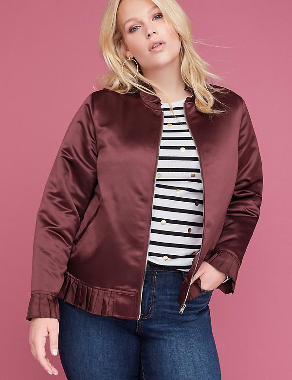 Ruffle-Trim Satin Bomber Jacket