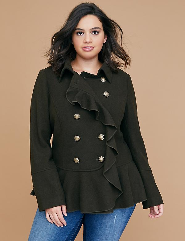 Military Wool Peplum Coat with Ruffle