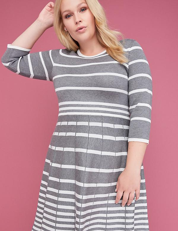 3/4 Sleeve Striped Fit & Flare Sweater Dress