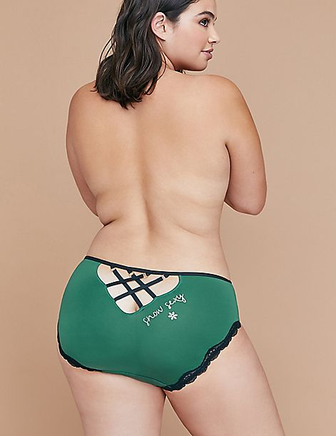 Strappy-Back Hipster Panty With Lace Trim and Hardware