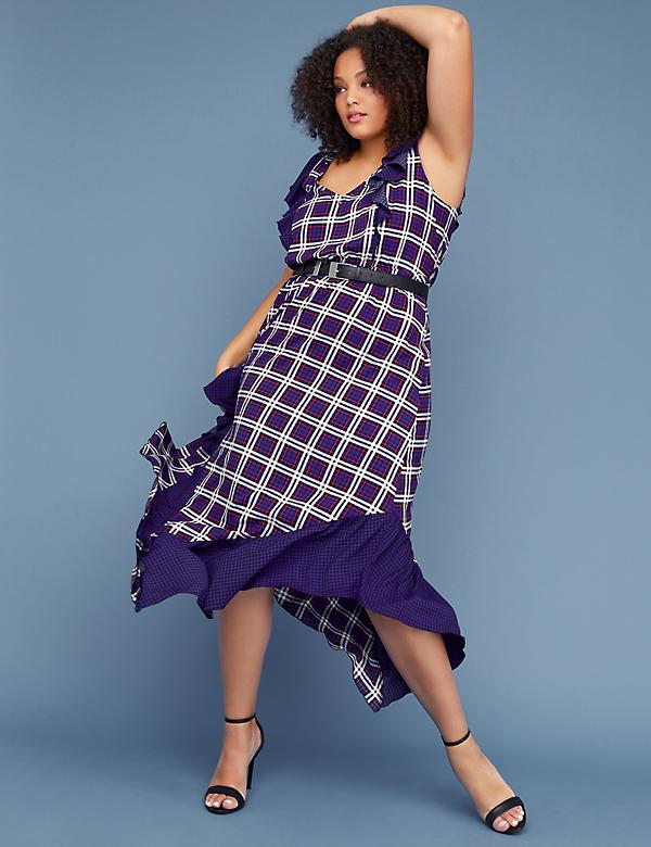 Fast Lane Studded Plaid Fit & Flare Dress
