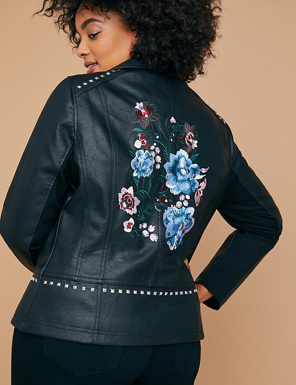 Studded & Embroidered Faux Leather Moto Jacket