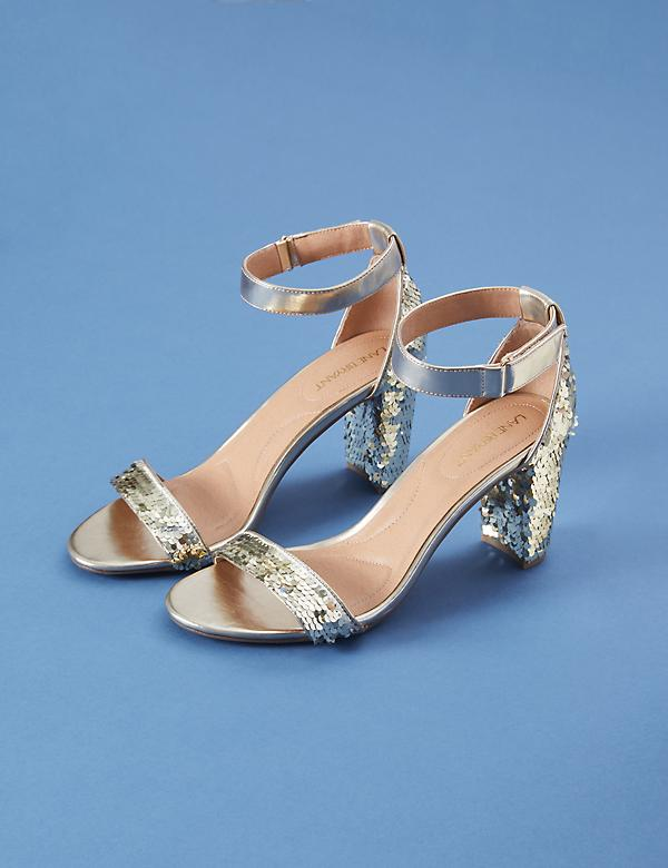 Sequin Tall Ankle-Strap Block Heel