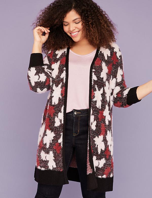 Floral Jacquard Duster Sweater
