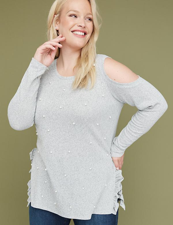 Faux Pearl Cold-Shoulder Hacci Sweatshirt