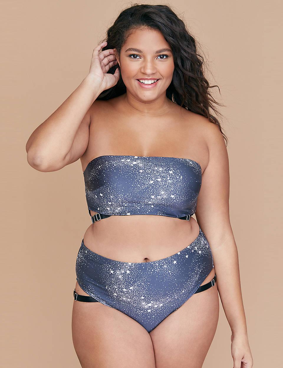 99bb978d4371d Swim Bikini Top with Built-In Bandeau Bra - Shimmer Star Print