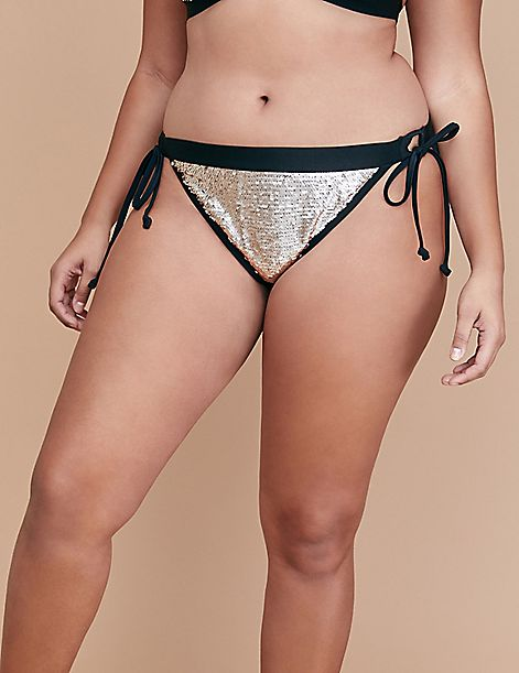 Sequin Swim String Bikini Bottom
